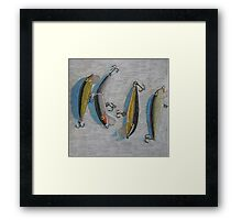 """Four fishing lures"" Framed Print"
