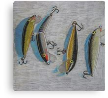 """Four fishing lures"" Canvas Print"