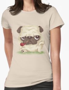 Pug which held the pipe in its mouth Womens Fitted T-Shirt