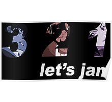 cowboy bebop 3 2 1 lets jam spike faye jet anime manga shirt Poster
