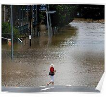 "Brisbane floods - Cultural Centre, South Brisbane or ""How do I get to my Latte!"" Poster"