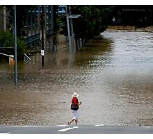 """Brisbane floods - Cultural Centre, South Brisbane or """"How do I get to my Latte!"""" Photographic Print"""