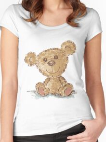 Teddy bear sitting Women's Fitted Scoop T-Shirt