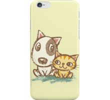 Dog and cat with good relations iPhone Case/Skin