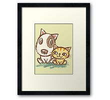Dog and cat with good relations Framed Print