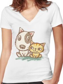 Dog and cat with good relations Women's Fitted V-Neck T-Shirt
