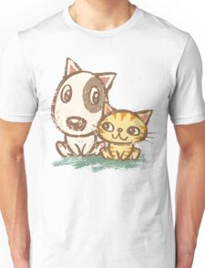 Dog and cat with good relations Unisex T-Shirt