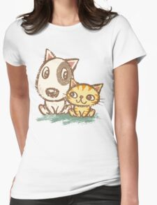 Dog and cat with good relations Womens Fitted T-Shirt