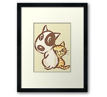 Dog and cat are turning around Framed Print
