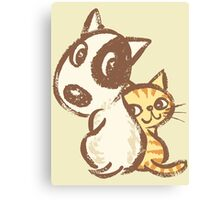 Dog and cat are turning around Canvas Print