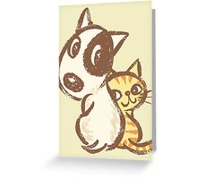 Dog and cat are turning around Greeting Card