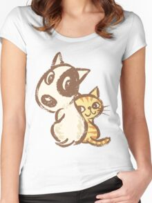Dog and cat are turning around Women's Fitted Scoop T-Shirt