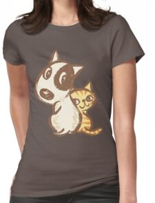 Dog and cat are turning around Womens Fitted T-Shirt