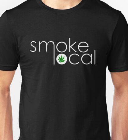 Smoke Local Weed Logo Green Marijuana Leaf White Text Unisex T-Shirt