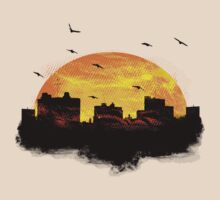 Cool Sunset - City Skyline - Cute Birds by Denis Marsili