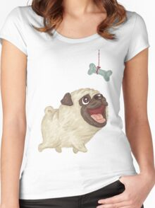 Happy Pug and bone Women's Fitted Scoop T-Shirt