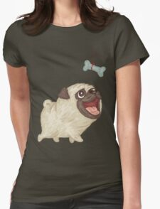 Happy Pug and bone Womens Fitted T-Shirt