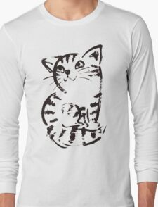 sketch of cat looks up Long Sleeve T-Shirt