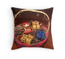 Christmas Basket Throw Pillow