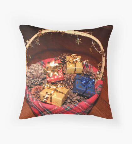 Christmas Basket Throw Pillow