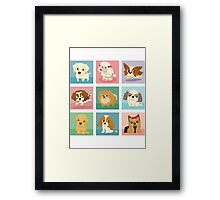 Many poses of puppies Framed Print
