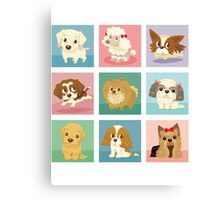 Many poses of puppies Canvas Print