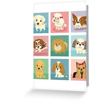 Many poses of puppies Greeting Card