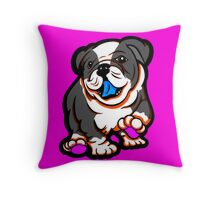 Happy Bulldog Grey and White  Throw Pillow