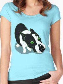 Mr Bull Terrier Green Women's Fitted Scoop T-Shirt