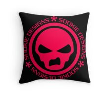 Sookie Designs Sneer Skull Logo Pink Throw Pillow