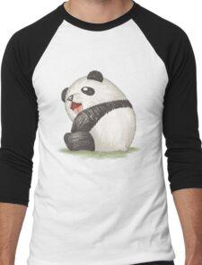 Happy panda sitting Men's Baseball ¾ T-Shirt