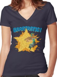Beartastic Women's Fitted V-Neck T-Shirt