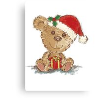 Teddy bear at Christmas Canvas Print