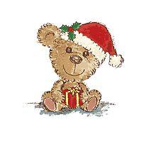 Teddy bear at Christmas Photographic Print