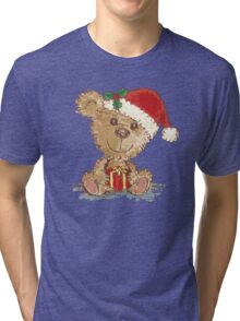 Teddy bear at Christmas Tri-blend T-Shirt