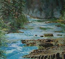 Cascading North Umpqua by Janet Rawlings