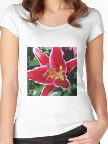 Pink Oriental Lily Macro Women's Fitted Scoop T-Shirt