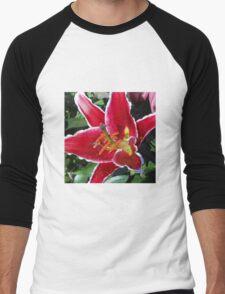 Pink Oriental Lily Macro Men's Baseball ¾ T-Shirt