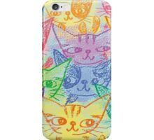 Chalk drawing of cats iPhone Case/Skin
