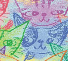 Chalk drawing of cats Sticker