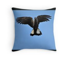 Black Cockatoo Spreading Wings Throw Pillow