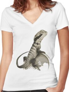 Australian Water Dragon Women's Fitted V-Neck T-Shirt