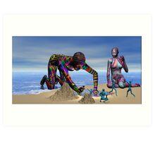 Discoverying the Aqua People Art Print