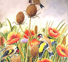 Gold Finches on Teasel in a field. by Jorja