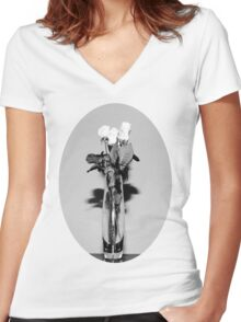 White Rose In Vase Women's Fitted V-Neck T-Shirt