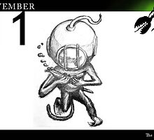November 11th - The diver by 365 Notepads -  School of Faces