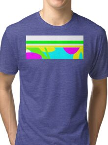 Abstract design in green, blue, yellow, and pink. Tri-blend T-Shirt