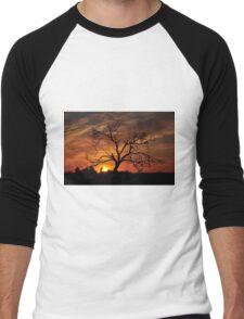Meditation Tree in Flaming Sunrise Men's Baseball ¾ T-Shirt