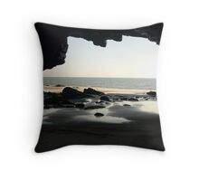 Cave, Slippery Back near Tenby. Throw Pillow