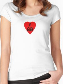 I Love Great Britain - Country Code GB T-Shirt & Sticker Women's Fitted Scoop T-Shirt